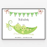 Pea Family Print, Wall Art Gift for Home Personalised, Framed in A3 or A4