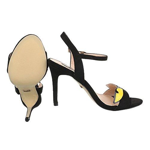 High Heel Sandaletten Damenschuhe Plateau Pfennig-/Stilettoabsatz High Heels Schnalle Ital-Design Sandalen / Sandaletten Schwarz