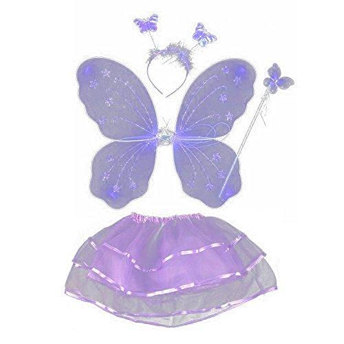 EFINNY Mädchen 4 Stück Set Feeprinzessin gillter Schmetterling Parteikostüm Flügel Stab Stirnband Tutu (3-10Y) Eine Größe Lila (Lila Dress Up Set)