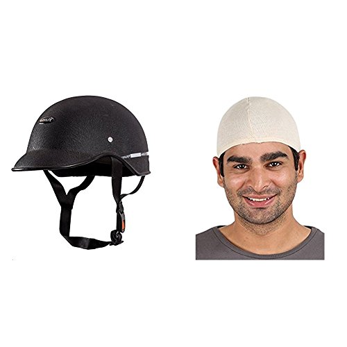 Autofy Habsolite All Purpose Safety Helmet with Strap (Black, Free Size) and Autofy Unisex Multipurpose Hair Protector Dust Pollution Skull Cap (Biege) Bundle