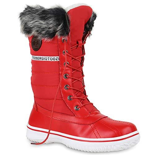 Stiefelparadies Warm Gefütterte Damen Stiefeletten Winterboots Stiefel Schuhe 128587 Rot 38 Flandell