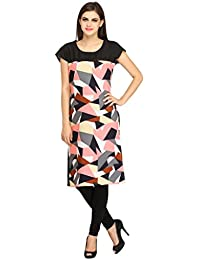 Desi Knots Women's Pink Geometric Print Kurta- (IDW-019-P)