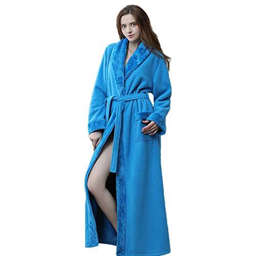 MWbetsy Damen Fleece Morgenmantel Frottier Bademantel Lange Knöchel-Längen-Unisex-Nachtkleid Sexy Bademantel Dusche Hausmantel Nachtwäsche Paar,Blau,M