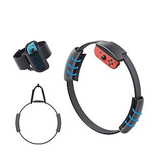Yocktec Beinschlaufe und Ring-Con Grip für Ring Fit Adventure Nintendo Switch, verstellbare elastische Handschlaufe Rutschfestes Lenkrad Zubehör Armband Sports Kits für Switch Joy-Con Controller Game