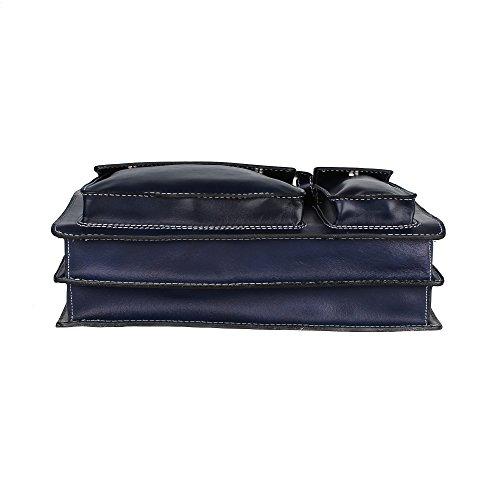 Unisex Aktentasche, Business Handtasche mit Schulterriemen aus echtem Leder Made in Italy Chicca Borse 38x29x11 Cm Blau