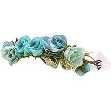 Homyl Diadema Adorno Estilo Encantador Flores Decorativos Boho Fiesta Boda Niña Muchachas - azul