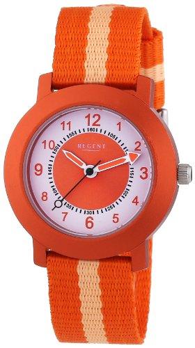 Regent 12400212 - Reloj analógico de cuarzo unisex, correa de tela color naranja