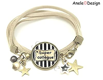 Bracelet liberty Cadeau Super Collègue étoile cadeau noir blanc perles original vintage idée cadeau