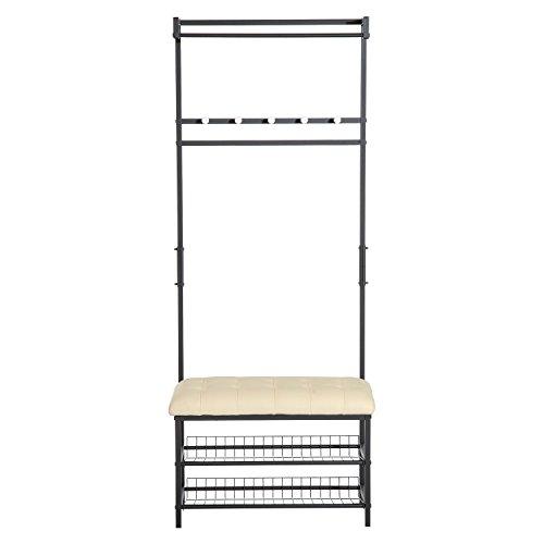 Homcom panchina appendiabiti stand attaccapanni con scarpiera metallo 72.5 x 35 x 180cm nero-beige