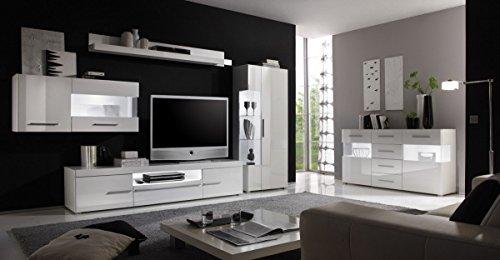 Dreams4Home Wohnzimmer Set 'Anisha' – Set, Glasvitrine, Hängevitrine, TV-Lowboard, Wandregal, Sideboard, Medienwand, Phono Möbel, Aufbewahrung, Wohnzimmer, in hochglanz weiß, Beleuchtung:2 x Unterbaubeleuchtung kalt weiß - 2