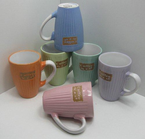 Kaffeebecher SET 6 Stck. á 0,15 L verschiedene Farben, Tasse, Pott, Keramik (LHS)
