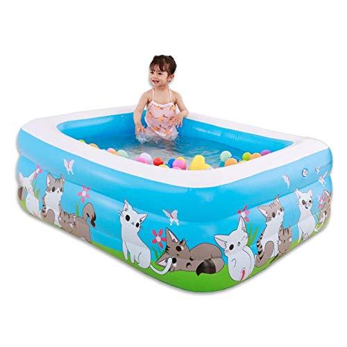 YAWJ Aufblasbares Kinderbecken Familienbecken Planschbecken Im Freien Wassersportarten Verdicktes Rechteckiges Schwimmbecken (Color : Blue A, Size : 150 * 110 * 50cm)