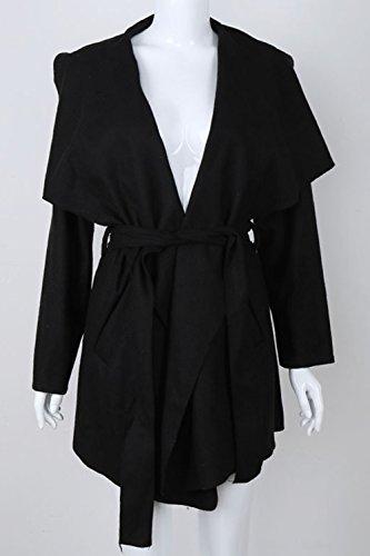 Les Femmes Cols Oversize Trenchcoat Irréguliers Occasionnels Extérieur De La Tenue De La Taille Black