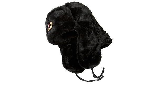 Olgas Russian Collectibles Hut Russische Sowjetarmee KGB Fell Milit/är Kosack Ushanka Gr/ö/ße M schwarz