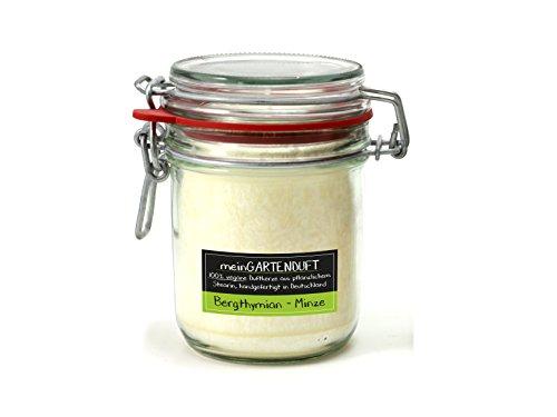 Minze Duftkerze (100% vegane Duftkerze 60 Std. ohne Farbstoffe aus Pflanzlichen Stearin meinGartenduft Duft: Bergthymian-Minze)