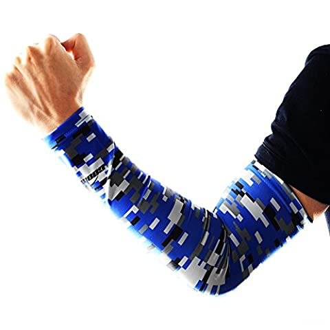 COOLOMG Arm sleeves Armschoner Hautfreundlich Anti Rutsch Radsport Erwachsene Kinder 1 Stück Digitale Blau (Spandex Elbow)