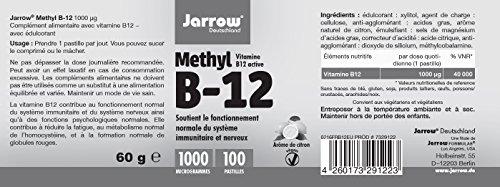 Methyl B12 1000 µg, aktives Vitamin B12 als Methylcobalamin, Lutschtabletten mit Zitronengeschmack, vegan, hochdosiert, Etikett in Deutsch, Englisch und Französisch, Jarrow, 1er Pack (1 x 100 Stück) - 3