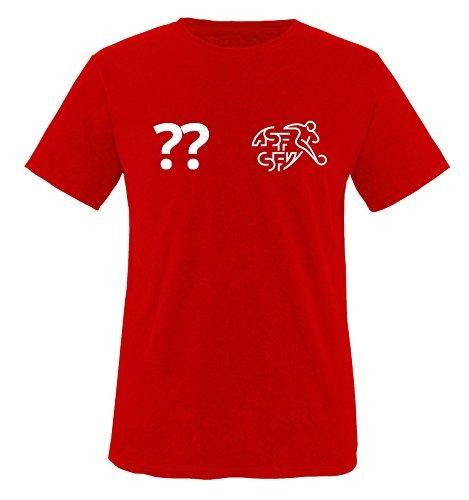 TRIKOT - CH - WUNSCHDRUCK - Kinder T-Shirt - Rot / Weiss Gr. 110-116 (Kinder Shirt Zeigen)