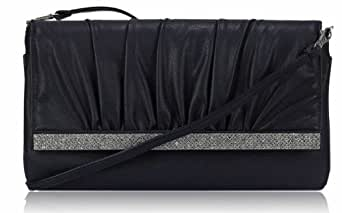 Damen Diamantes Lasche Navy Blau Clutch Abentasche Tasche Handtasche - KCMODE