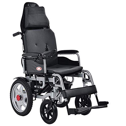 MZLJL Electric Wheelchair,Intelligent Black 360° Joystick Folding Hand Push/Electric Durable Outdoor Elderly Disabled Four-Wheeled Electric Wheelchair Seat Width 43Cm - Electric Power Stuhl