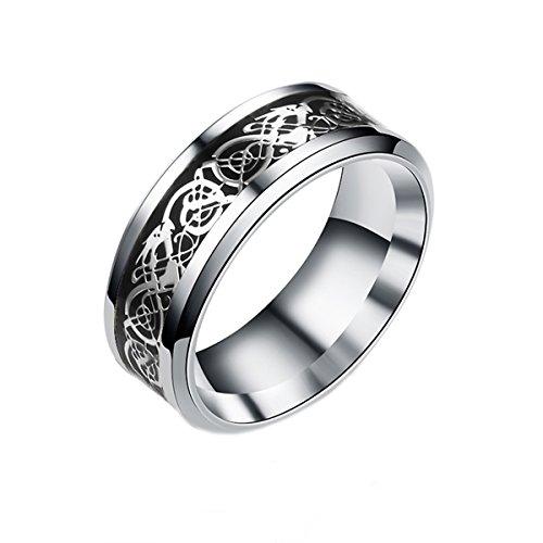 Für Silber-band-ring Männer (Mr.Van Herren Mode Drache Muster Ringe für Männer Hochzeit Band Jubiläumsfeier rostfreier Stahl Ring 8mm schwarz und silber)