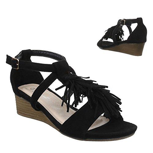 Ital-Design - Sandali Donna Nero (Noir - Negro - negro)