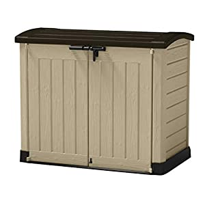 41EBOdNv%2B5L. SS300  - Large Plastic Storage Box Garden Outdoor Shed For Wheelie Bins Tools Bikes & Lawn Mowers