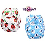 Fig-O-Honey Reusable New Born Baby Cloth Diapers   Multi-Color Baby Fabric Nappy With Free Absorbent Inserts   Washable And Elastic Printed Modern Cloth Nappies With Insert Liners   ( Ladybug & Elephant Print Combo )