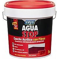Ceys M122188 - Impermeabilizante aquastop caucho acrilico con fibras 5 kg gris