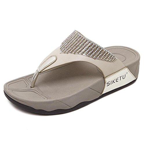 Sandalias y Chanclas Bohemio de Playa para Mujer, QinMM Casual Zapatos de Baño Verano Flip Flops 39...