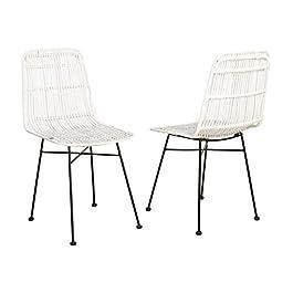 Elia Lot de 2 chaises en rotin Blanc – Pieds en métal – Ethnique – l 44 x p 40 cm