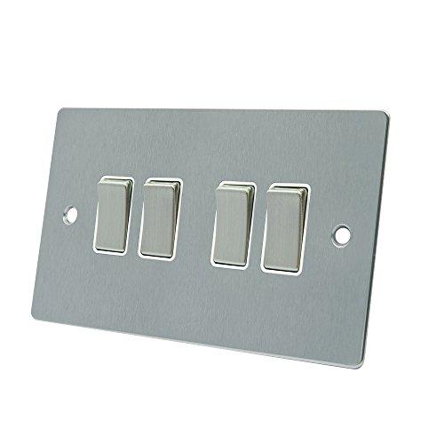 AET fsc4gswiws 10A Lichtschalter 4-fach 2-Wege-Satin Chrom flach Lichtschalter mit weißem Einsatz Metall-Kippschalter 4 Way Light Switch