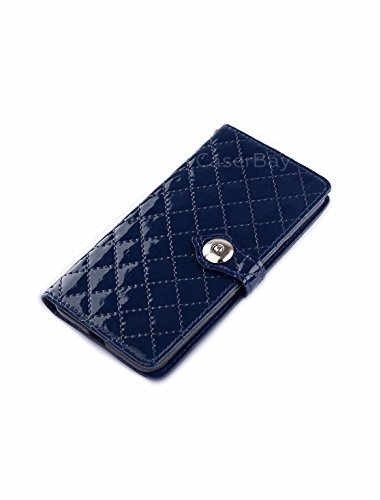 [caserbay] iPhone 7 11,9 cm Magnetic Flip Phone Fall Premium PU Leder Folio Ständer Wallet Fall Rugged Diamond Lattice Plaid Patent Leder Card/Cash Slots, Dark Blue for iPhone 7 4.7