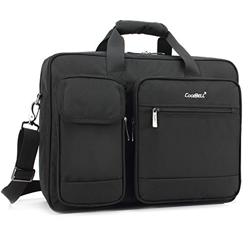 CoolBELL 17,3 Zoll Laptop Aktentasche schützend Messenger Bag Nylon Schultertasche Multifunktional Henkeltasche Laptop / Ultrabook / Tablet / Macbook / Dell / HP, Schwarz