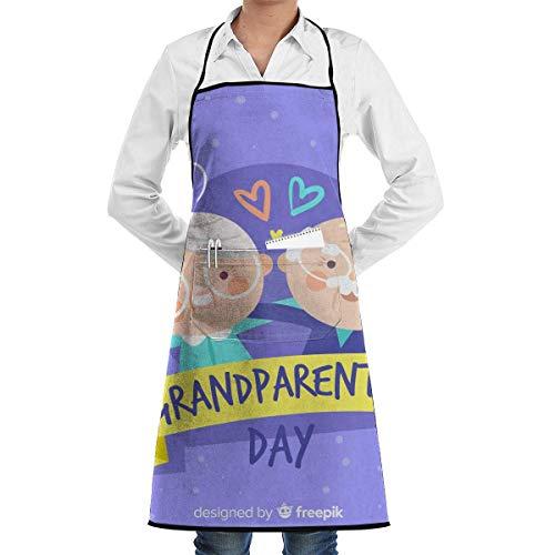 xcvgcxcvasda Einstellbare Latzschürze mit Tasche, Grandparents Day Bib Schürze for Women Men Waterproof Chef Schürze with Front Pocket for Kitchen Cooking Craft Baking (Sinken 24-schürze)