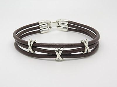 Bracelet Homme 3 Liens en Cuir Marron Personnalisable avec Perles en Métal Argenté Cadeau Parrain Papa Ami