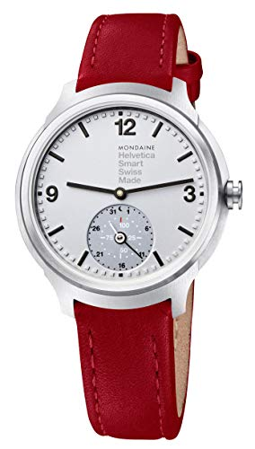 Mondaine Helvetica No1 Bold Stainless Steel Mens Smartwatch Red Leather...