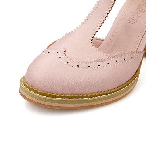 AgooLar Femme Couleur Unie Matière Mélangee à Talon Haut Rond Boucle Chaussures Légeres Rose