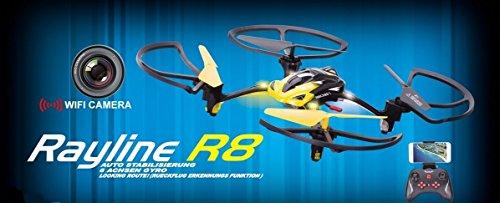 W-Lan rayline quadricoptère r8wifi NCC® avec appareil photo, FPV, transfert d'image en direct sur votre Smartphone, UFO, 2,4GHz, 4canaux, fonction 6axes Drone, Super Solide Châssis, Coming Home, avec éclairage LED