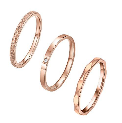 ALEXTINA 3 Stücke Damen Edelstahl 2MM Stapelbar Die Ewigkeit Ring Rose Gold Überzogen Hochzeitsring Größe 60