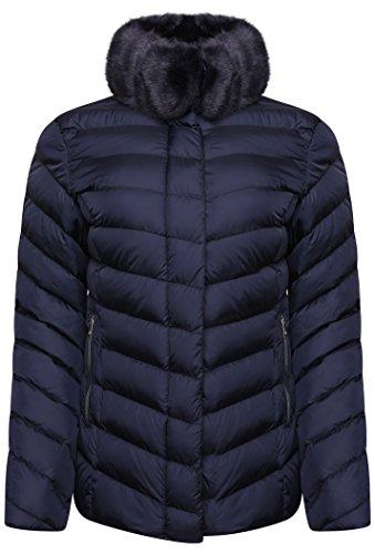 Rino   Pelle Women s Rinske Faux Fur Collar Quilted Jacket - Navy Blue (EU  40 b1e218de9ce