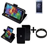 K-S-Trade® Case Schutz Hülle für Sony Xperia XA2 Ultra Dual-SIM + Bumper Handyhülle Flipcase Smartphone Cover Handy Schutz Tasche Walletcase schwarz (1x)