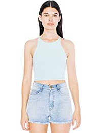 American Apparel Women's Cotton Spandex Sleeveless Crop Top (8369) Fitted Neckline Dual Stitch Detailing