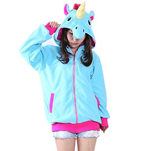Unisex Einhorn Pullover Unicorn Kapuzenpullover Sweatjacke Cosplay Kostüm Halloween Geschenke für Erwachsene, Frauen, Männer (XL für 178-188cm, (Frauen Einhorn Kostüme)