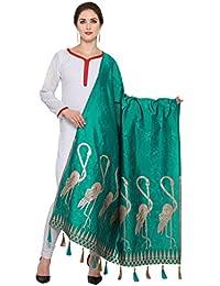 Ravechi Fab Women's Art Silk And Zari Work Dupattas (Rama Green)