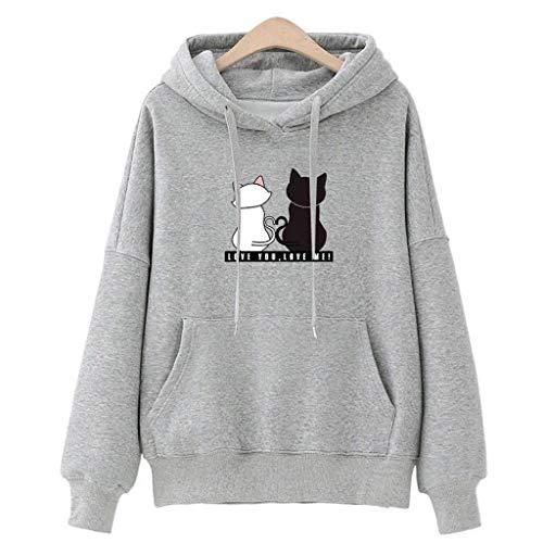 Damen Hoodie, VEMOW Plus Größe Langarm Brief Gedruckt Sweatshirt Jumper Bluse(X4-c-Grau, 2XL/42)