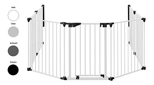 Original IMPAG® Kaminschutzgitter XXL | 190-430 cm | Extrabreite Automatik-Tür | 90° Feststell-Funktion | Einhandbedienung | Sicherheitsgeprüft 1930:2011 (6-tlg. Weiß)