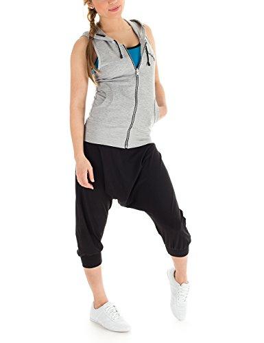 Winshape Damen Ärmellose Dance Freizeit Sport Hoodie-Weste WBU1 Grey Melange