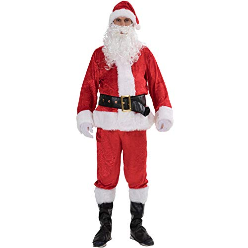 MERRYHE Erwachsene 7 Stück Weihnachten Weihnachtsmann Kostüm Professionelle Weihnachten Vater Santa Anzüge Kostüm,Red-OneSize