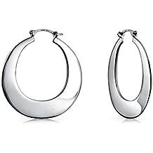 Bling Jewelry plata esterlina 925 redonda plana Hoop Earrings Encaje